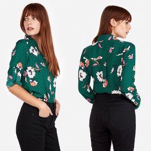 Express Floral Dot Covered Portofino Slim Shirt